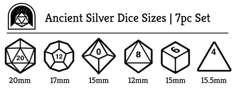 Ancient Silver Dice Sizes by Arcana Vault