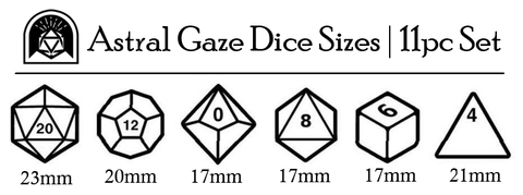 Astral Gaze Dice Size Chart