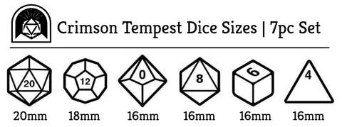 Crimson Tempest polyhedral dice set sizes