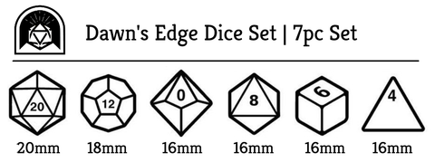 dawns edge polyhedral dice set size chart