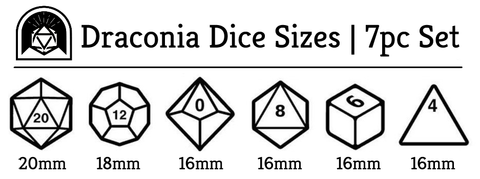 Draconia polyhedral dice set size chart