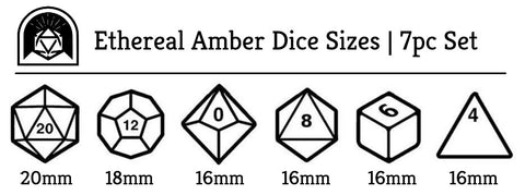 Ethereal Amber DnD Dice Size Chart | Arcana Vault