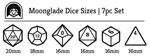 Moonglade polyhedral dice size chart