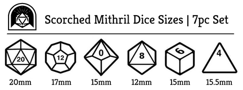 Scorched Mithril Dice Sizes - Arcana Vault