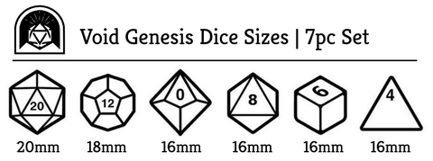 Void Genesis polyhedral dice size chart