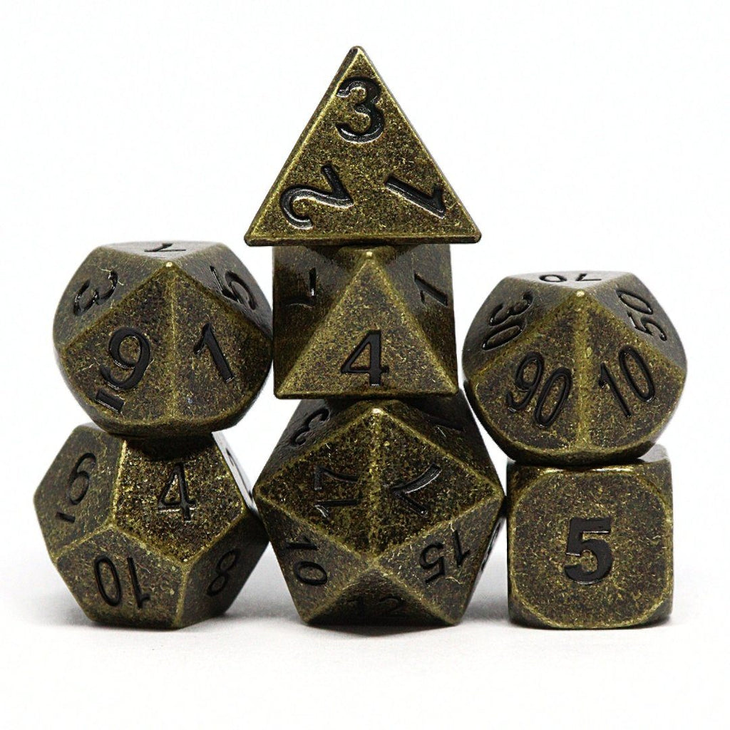 Ancient Gold Polyhedral Dice Set - Arcana Vault
