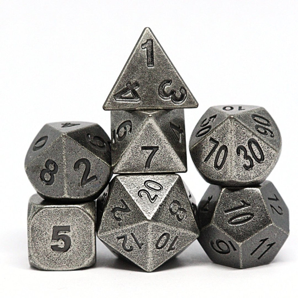 Ancient Silver Polyhedral Dice Set - Arcana Vault