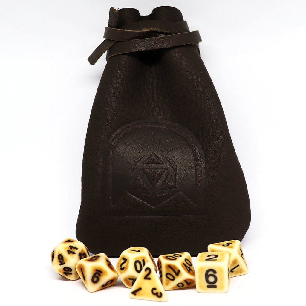Brown Walnut Leather Dice Pouch - Arcana Vault