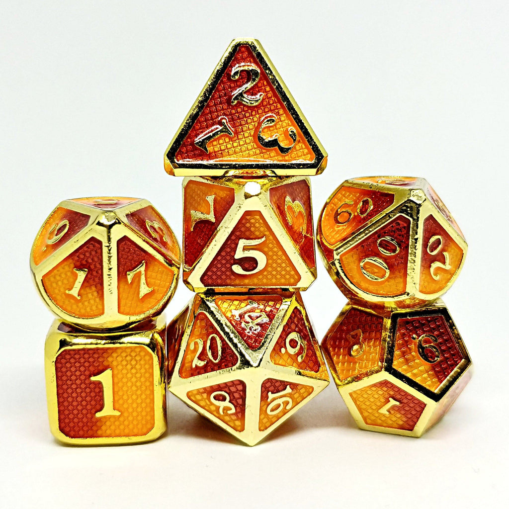 Burning Willbreakers Polyhedral Dice Set - Arcana Vault