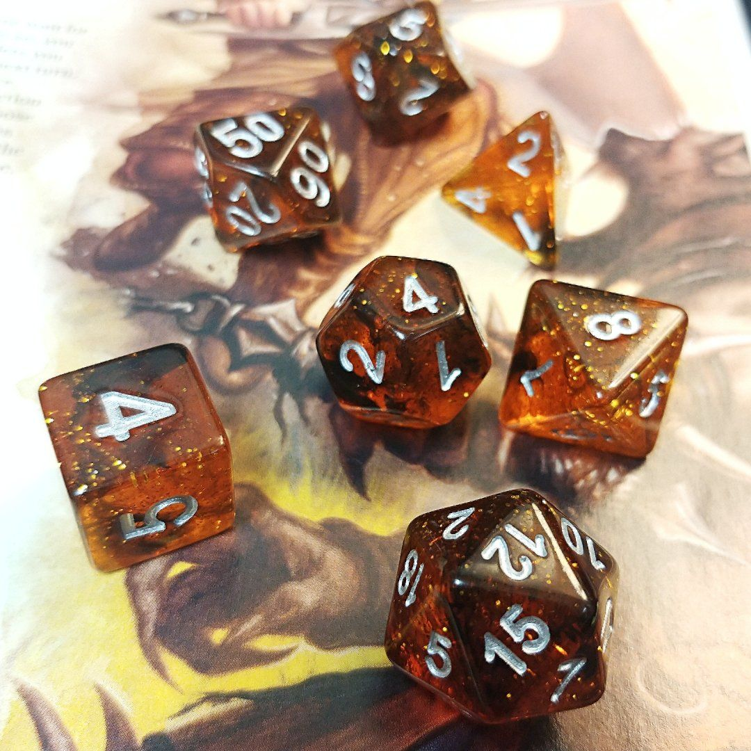 Ethereal Amber Polyhedral Dice Set - Arcana Vault