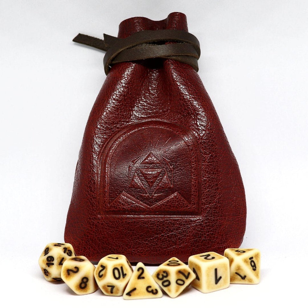 Oxblood Leather Dice Pouch - Arcana Vault