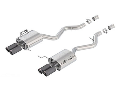 Borla 11882CF ATAK Axle-Back Exhaust System 2.75 in. Incl. Ext. Pipes/Right and Left Mufflers/Hardware/Quad 3.125 in. Tips Dual Split Rear Exit ATAK Axle-Back Exhaust System