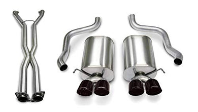 Corsa Performance 14169CB4BLK Sport Cat-Back Exhaust System Dual Rear Exit 2.5 in. Dia. Incl. RH-LH Mufflers/LF-RH Over Axle Pipes/Hardware/Twin 3.5 in. Black Pro-Series Tips Sport Cat-Back Exhaust System