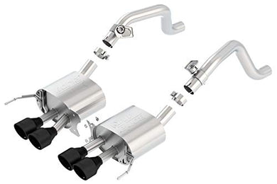 Borla 11863CB ATAK Axle-Back Exhaust System 2.75 in. Into Muffler Dual 2 in. Out Incl. Mufflers/4.25 in. x 4.25 in. Quad Round Rolled Angle-Cut Black Ceramic Tip Quad Center Rear Exit ATAK Axle-Back Exhaust System