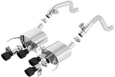 Borla 11856CB ATAK Axle-Back Exhaust System 2.75 in. Into Muffler Dual 2.75 in. Out Incl. Mufflers/4.25  in. Dual Round Rolled Angle-Cut Intercooled Ceramic Black Quad Center Rear Exit ATAK Axle-Back Exhaust System