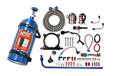 NOS 02126NOS Complete Wet Nitrous System; Adjustable; Incl. 10 lb. Blue Bottle/Tubing/Wiring/Cheater and Cheater II Nitrous Solenoid/Gaskets/Flare Jets/0.5 in. Plate Height/Hardware;