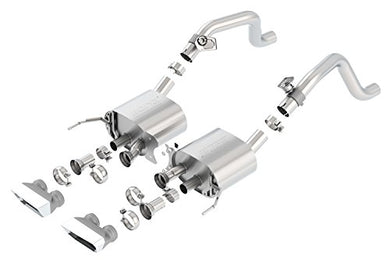 BORLA 11865 S-Type Rear Section Exhaust System (with AFM Valves, Rectangular Tips)