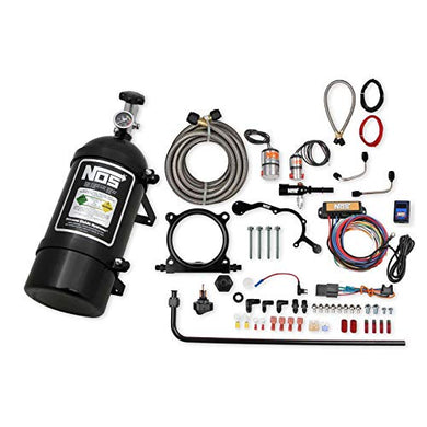 NOS 02126BNOS Complete Wet Nitrous System; Adjustable; Incl. 10 lb. Black Bottle/Tubing/Wiring/Cheater and Cheater II Nitrous Solenoid/Gaskets/Flare Jets/0.5 in. Plate Height/Hardware;