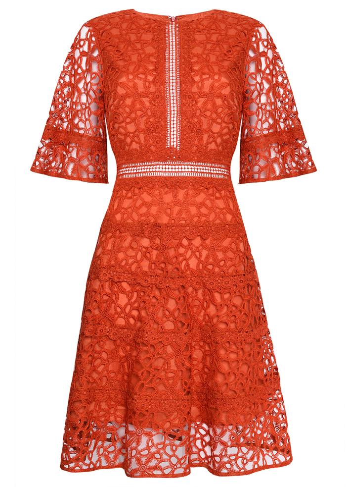 Orange Lace Cut work dress