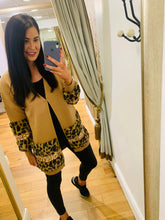 Load image into Gallery viewer, Lisa Leopard & Sequin cardigan (Camel)