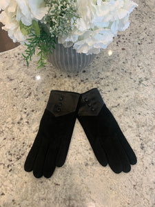 Button suede Leather Gloves