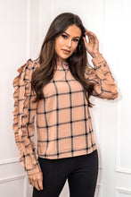 Load image into Gallery viewer, Ava Frill Long Sleeve Top Camel Check