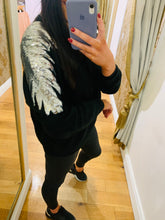 Load image into Gallery viewer, Carmel Sequin Sleeve Jumper (Black)