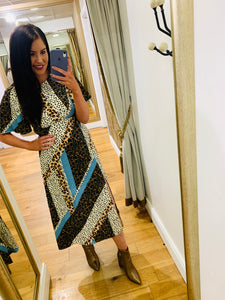 Zoe Blue Leopard Dress