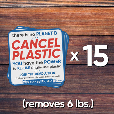 15 sticker pack (removes 6 lbs. of plastic)