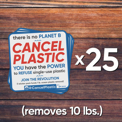 25 sticker pack (removes 10 lbs. of plastic)