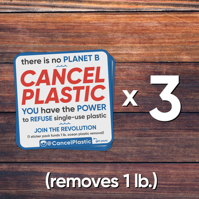 3 sticker pack (removes 1 lb. of plastic)