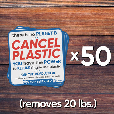 50 sticker pack (removes 20 lbs. of plastic)