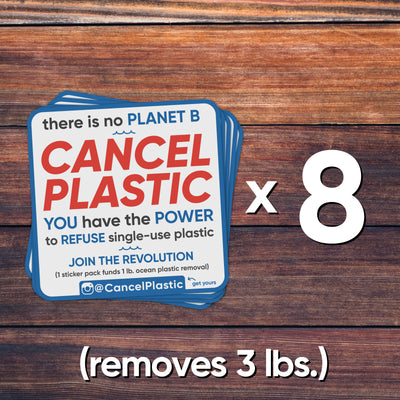 8 sticker pack (removes 3 lbs. of plastic)