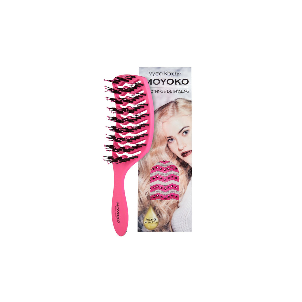 Load image into Gallery viewer, Mycro Keratin Moyoko Detangling Brush - Pink