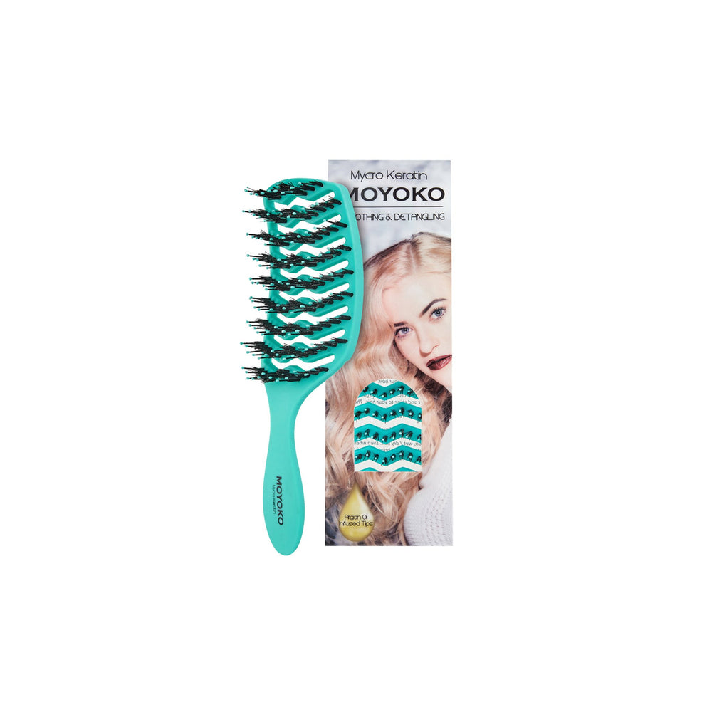 Load image into Gallery viewer, Mycro Keratin Moyoko Detangling Brush - Turquoise