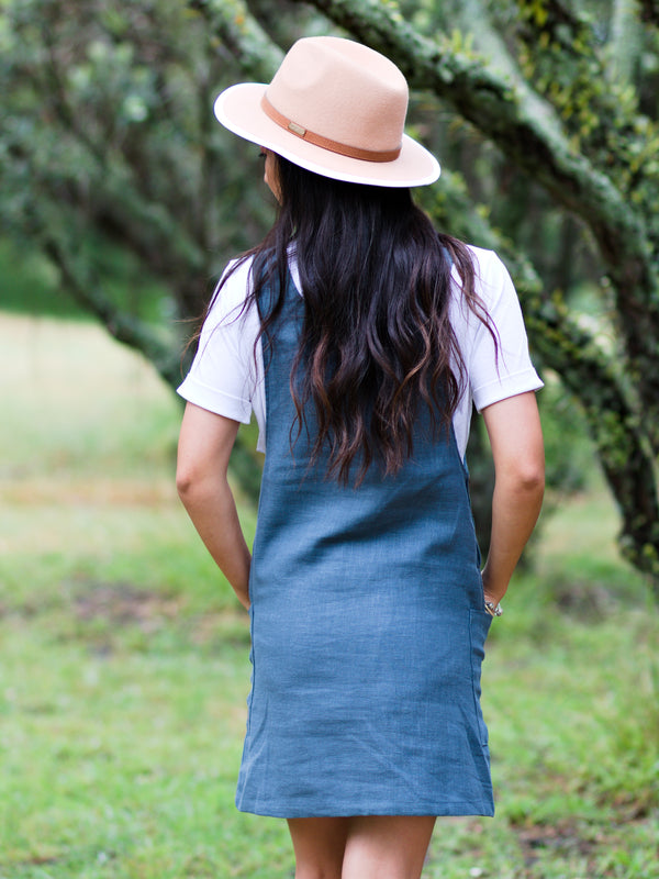 Breastfeeding Linen Pinafore Dress in Teal Blue