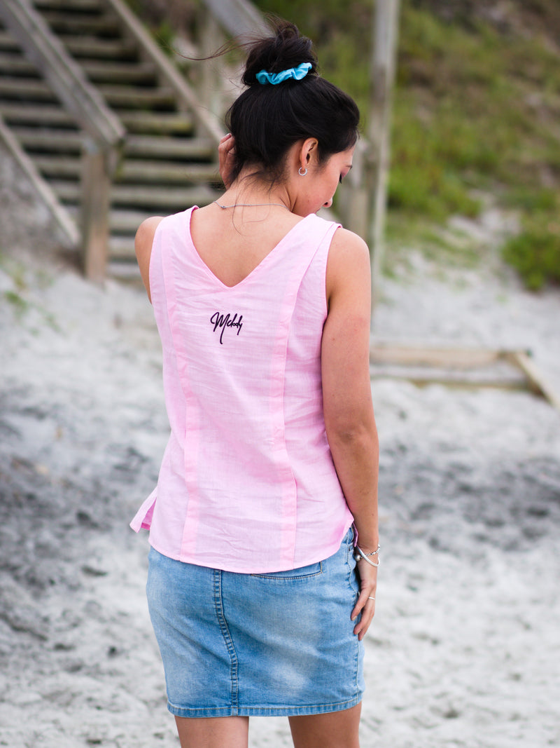 Breastfeeding Linen Top in Blossom Pink