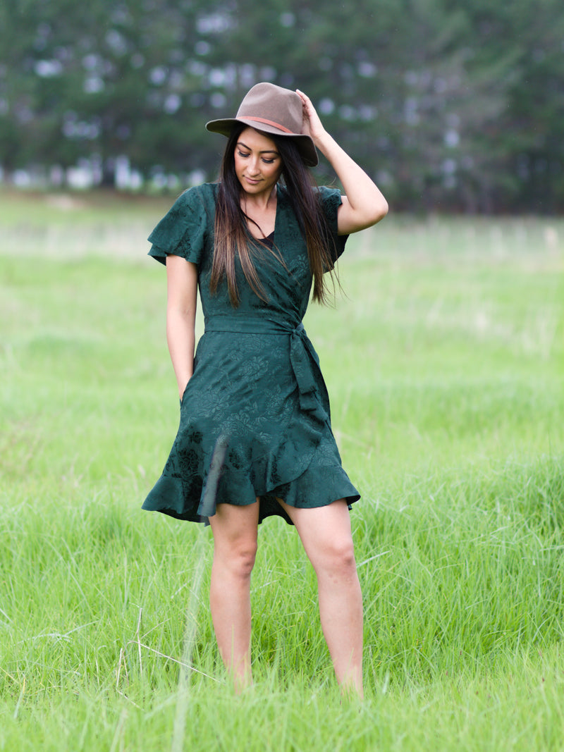 Breastfeeding Wrap Dress in Forest Green