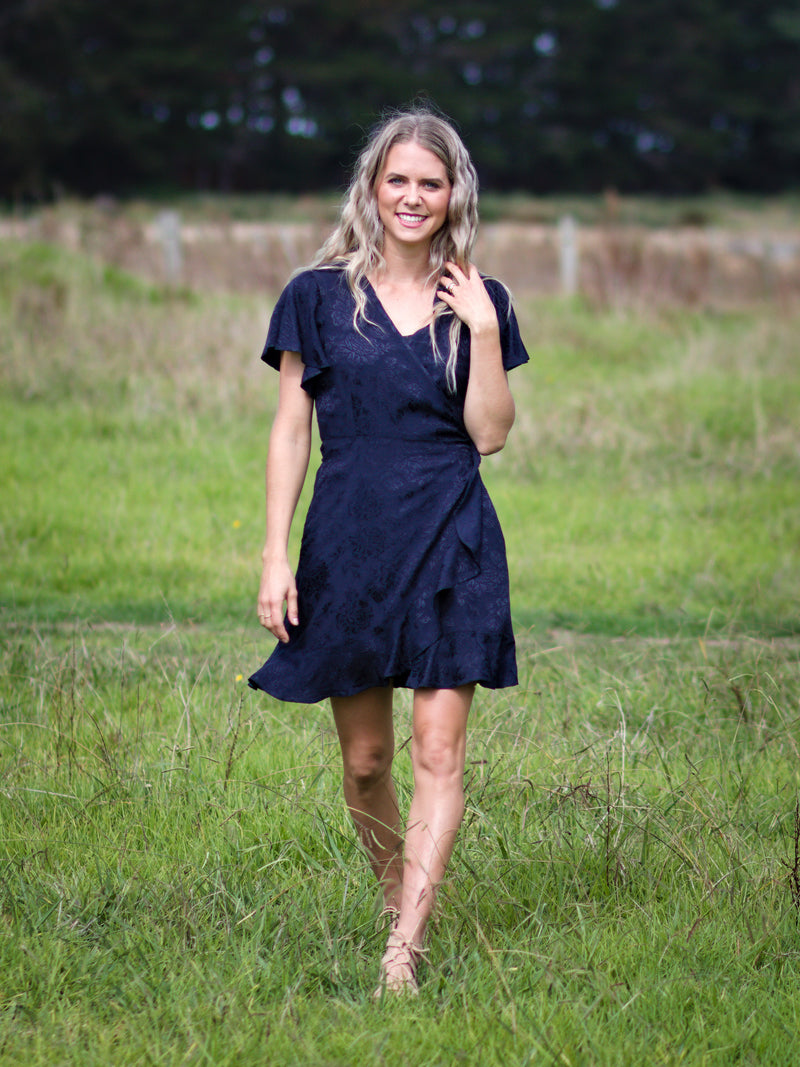 Breastfeeding Wrap Dress in Midnight Blue