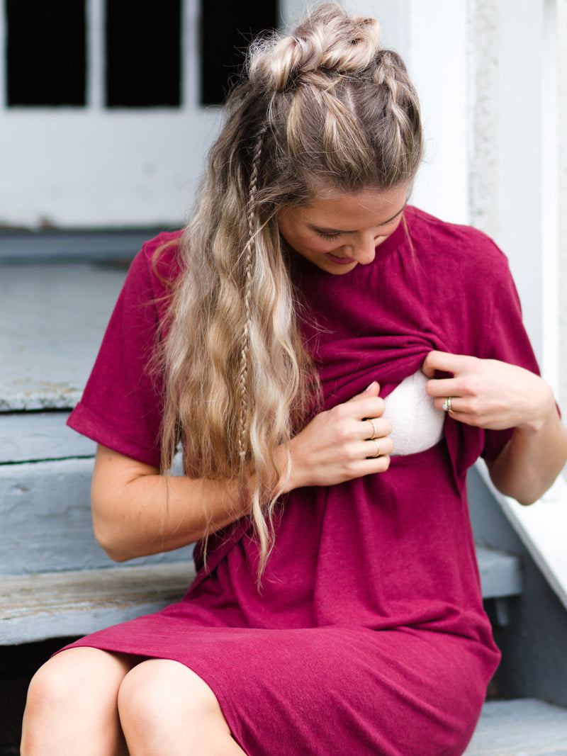 Breastfeeding Tshirt Dress in Burgundy