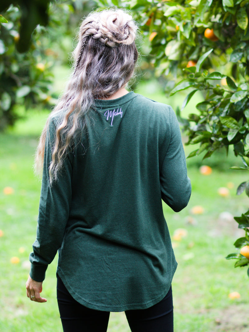 Breastfeeding Shirt Long Sleeve in Pine Green