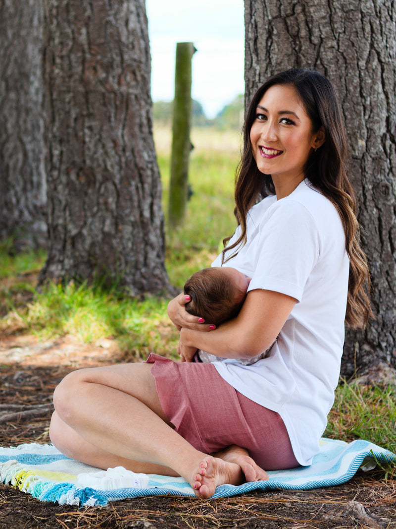 Breastfeeding Tshirt Organic Cotton/Hemp in White