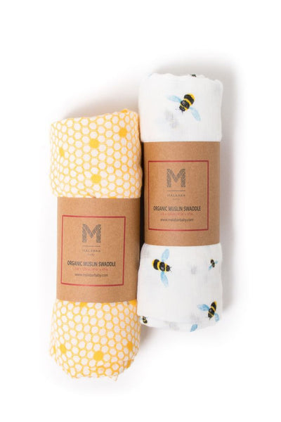 Malabar Baby- Busy Bees Organic Cotton Swaddle 2 pack