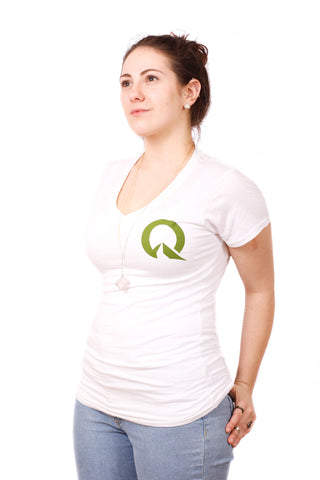 Quest Women's Bamboo V-Neck Fitted T-Shirt - White