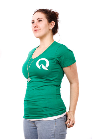 Quest Women's Bamboo V-Neck Fitted T-Shirt - Green