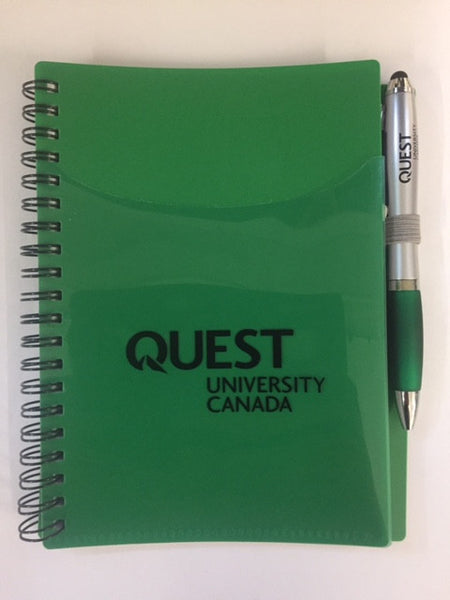 Quest Notebook - Green with Quest Logo and Stylus Pen