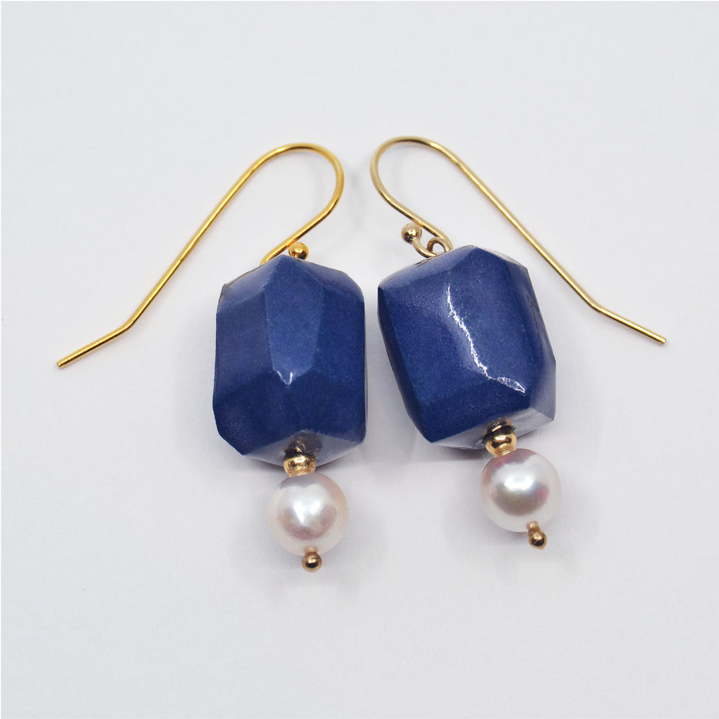 One-of-a-kind porcelain earrings, gem cut blue porcelain beads and 6mm Akoya pearls.