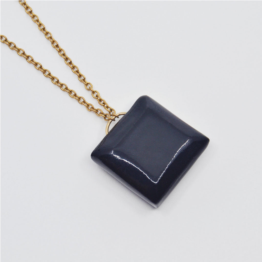 Black Cut Gem Necklace
