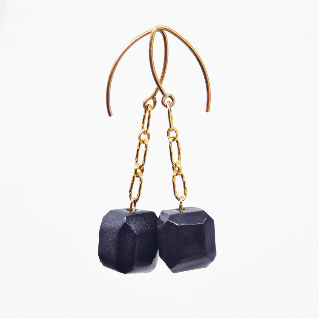 Dark Matter Gem Cut Cube Dangle Earrings