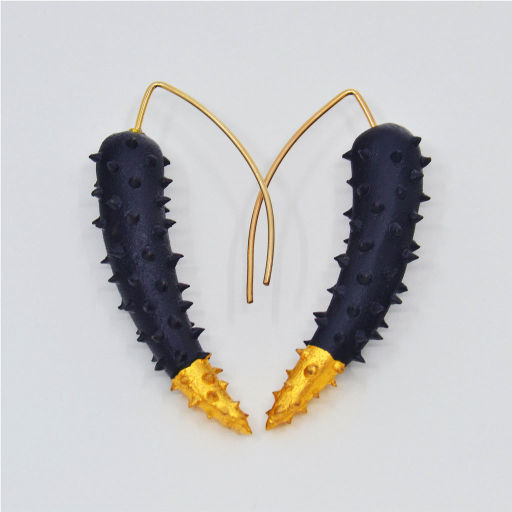 Iconic Black Gold Tip Earrings